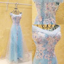 baby blue floral evening dresses beaded pearls long engagement