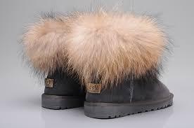 womens ugg boots fox fur fox fur mini boots 5854 grey