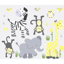 yellow gray safari wall murals with zebra decals for boys bedrooms yellow gray jungle wall murals with zebra wall decor for boys