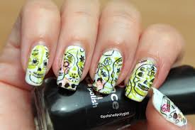 halloweennails2015 nail art with skulls polished polyglot