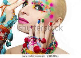colorful makeup manicure ornaments different shapes stock photo