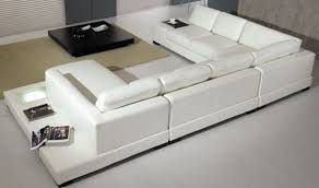 White Italian Leather Sectional Sofa Divani Casa T35 Modern Italian Leather Sectional Sofa With Light