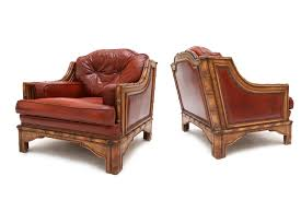 Red Club Chair Red Leather U0026 Bamboo Club Chairs 1960s Set Of 2 For Sale At Pamono