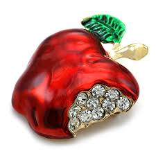 amazon com red teacher u0027s apple fruit brooch pin clear rhinetones