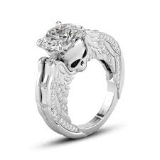 Skull Wedding Rings by Round Cut White Cubic Zirconia Skull Series Sterling Silver