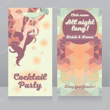 template for cocktail party invitation with beautiful