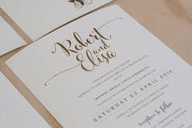 wedding invitations gold and white calligraphy on white gold foil wedding invitation on my