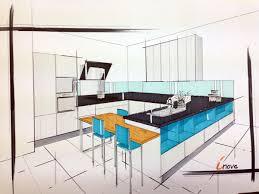 cuisine en perspective aeros blanc brillant et bleu pétrole perspective cuisine