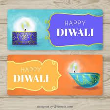 happy diwali banners with ornamental candles vector free