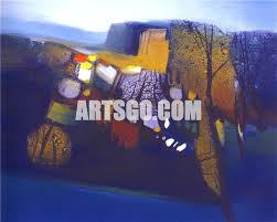 contemporary abstract landscape oil painting for home decor canvas