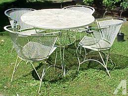 Wrought Iron Patio Tables Shabby Vintage 5 Pc White Wrought Iron Patio Set For Sale In