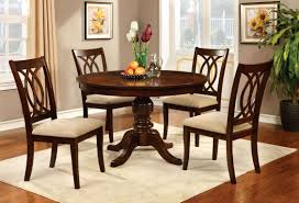 furniture of america brennan 5 piece round brown cherry dining set