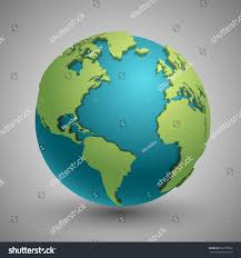 3d World Map by Earth Globe Green Continents Modern 3d Stock Vector 662375902