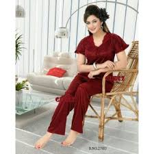 270d sleep set 2pc top u0026 pajama night dress maroon bed lounge