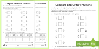 year 6 order fractions activity sheet key stage 2 ks2 maths
