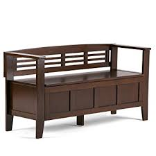 Kitchen Bench With Storage Amazon Com Simpli Home Adams Entryway Storage Bench Medium
