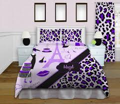 paris themed bedding sets eiffel tower home decor purple cheetah