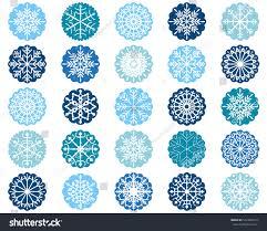 white snowflake ornaments blue scalloped circles stock vector
