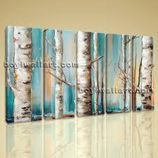 Dining Room Prints Large Birch Trees Painting Tree Picture Wall Decor Dining Room Prints