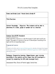 tpack lesson plan 1 function mathematics learning