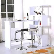 Breakfast Bar Table Kitchen Breakfast Bar Table White High Gloss Wooden Wine Rack
