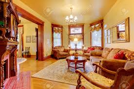 historical old antique living room interior in american house