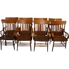 Heywood Wakefield Dining Room Set Oak Heywood Wakefield Arm Chairs Set Of 8 From Robertsantiques On