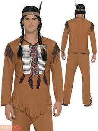 Cowboy Indian Halloween Costumes Adults Mens Native American Warrior Red Indian Costume Fancy Dress
