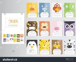funny animal calendar 2018 designthe year stock vector 726537886