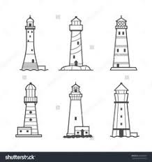 set of cartoon lighthouses icons pencil drawing vector by kamenuka