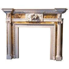 original george iii white statuary and siena marble fireplace