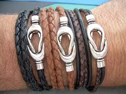 mens clasp bracelet images Triple wrap leather bracelet with interlocking magnetic loop clasp jpg