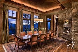 traditional interior design image dining room at twilight with
