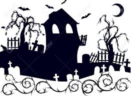 halloween haunted house with graveyard illustration one color