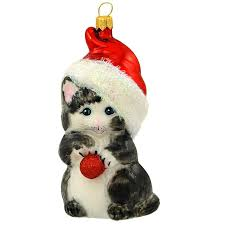 gray cat with santa hat glass ornament 1199898 baubles n bling