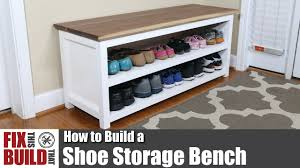 Plans For A Wooden Bench With Storage by Diy Shoe Storage Bench How To Build Youtube
