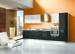 mur de cuisine meuble de cuisine noir et blanc mur de cuisine orange avec meubles