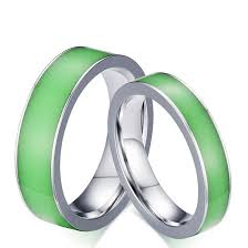 green wedding rings stainless steel fashion wedding rings with fluorescent russian