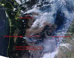 Canada Wildfire Satellite by Numerous Wildfires Rage In And Dry Pacific Northwest Imageo