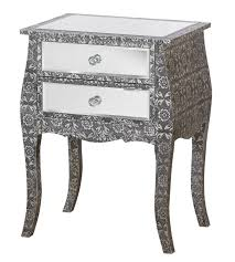 two drawer bedside table french vintage style silver embossed mirrored glass low two drawer