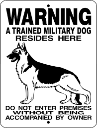 german shepherd military dog sign 9x12