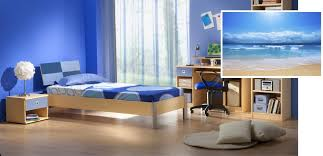 coll blue color painting for bedroom combine with maple wood