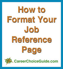 how to format your job reference list at http www