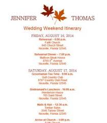 wedding itinerary template weekend itinerary wedding schedule
