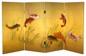 Screen Room Divider 3 U0027 Tall Double Sided Seven Lucky Fish Canvas Room Divider Asian