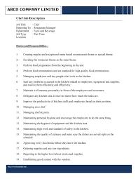 Sample Resume For Kitchen Staff Chef Job Description Resume Resume For Your Job Application
