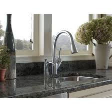 delta 989 dst allora polished chrome pullout spray kitchen faucets