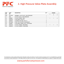 07 02 high pressure valve plate assembly for 2475 ir 2475 parts