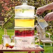 vonshef 3 tier drinks dispenser 10 5l with taps u0026 ice compartment