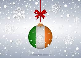 Chicago Irish Flag Christmas Background With Ireland Flag Ball Royalty Free Cliparts